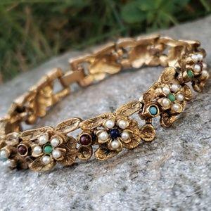 Vtg  Renaissance Revival Pearl Cabochon Bracelet